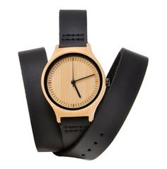Natural Bamboo Watch Japanese Quartz Genuine Leather Wrist Watch Black