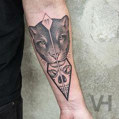 black jaguar face sketch tattoo symetrical - Google Search