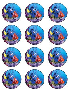 1 Finding Nemo Cake, Finding Dory, 1st Birthdays, 2nd Birthday Parties, Cupcake Toppers Free, Sea Theme, Cup Cakes, Ideas Para, Printables