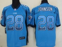 Nike Tennessee Titans #28 Chris Johnson 2013 Drift Fashion Blue Elite Jersey