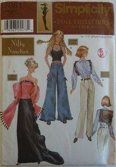 Sewing Pattern Simplicity 7081 - Clothes for 11 1/2 inch Fashion Dolls, Evening and Casual Wear - UNCUT
