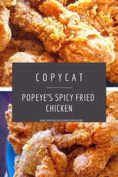 CopyCat for Popeye's Crispie Spicy Chicken. Love the spicy, perfectly seasoned, crispy on the outside, juicy on the inside. Popeyes Fried Chicken, Crispy Fried Chicken, Fried Chicken Wings, Fried Chicken Seasoning, Roasted Chicken, Buttermilk Fried Chicken, Chicken Gravy, Baked Chicken, Snacks