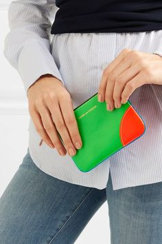 Neon-blue, green and orange leather (Goat) Zip fastening along top Made in Spain Orange Leather, Top Designer Brands, Green And Orange, Leather Wallet, Branding Design, Neon, My Style, Blue, Products