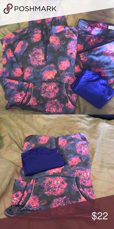 Aeropostale Jogger Suit with Hoodie and Cami Aeropostale Distressed Flower Cropped Hoodie with Jogger Pants and a matching cami. The hoodie is an XL, the joggers and Cami are Lg. My daughter only wore the jogger outfit like three times. Aeropostale Other