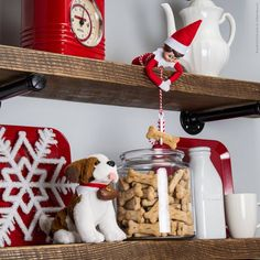 Looks like this elf is doing a kind deed and giving this pup a yummy treat! #ScoutElfIdeas | Elf on the Shelf Ideas | Ideas for Scout Elves | Easy Elf Ideas  | Scout Elves At Play | Elf Tools