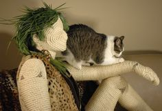 Full Body Mannequin Scratching Post Sisal by CatInTheBoxCreations