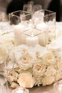 Timeless & Gorgeous Winter Wedding Color Combinations - Timeless and gorgeous winter wedding color combination inspiration: all white floral centerpiece. Winter Wedding Receptions, Wedding Reception Decorations, Wedding Centerpieces, Wedding Table, Winter Weddings, Wedding Ideas, All White Wedding, White Wedding Flowers, Floral Wedding