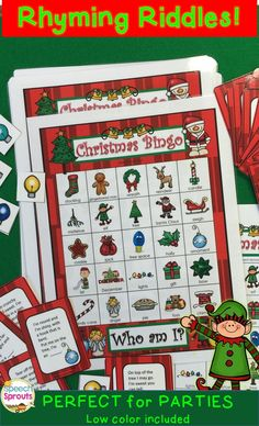 $ Christmas Bingo Riddles- party-perfect educational holiday activity! Solve the riddles for critical thinking, vocabulary and listening fun. My kids beg to play! Classroom, Speech Therapy, ESL for K-5th
