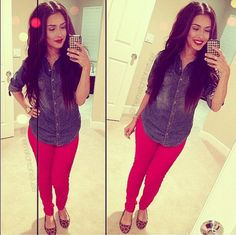 Love the denim shirt, red pants and leopard flats