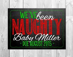 Christmas Themed Pregnancy Announcement Card // by MMasonDesigns Christmas Printables, Christmas Themes, Pregnancy Announcement Photos, Baby Announcements, Christmas Gender Reveal, Baby Fat, Chalkboard Background, Everything Baby, Breastfeeding