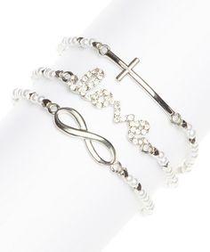 Silver & Sparkle 'Love' Multi-Strand Stretch Bracelet