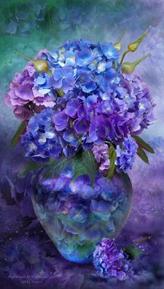 Hydrangeas in Hydrangea Vase by Carol Cavalaris. Hydrangea bouquet in shades of the heart there's . I'll always be true blue please me purple kiss me pink and love me lavender, too gathered just for you. Hydrangea Bouquet prose by Carol Cavalari Art Floral, Watercolor Flowers, Watercolor Art, Hydrangea Vase, Hydrangea Painting, Flowers Vase, Flowers In Vase Painting, Purple Hydrangeas, Painting Art
