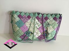 Eco bag Green and lilac by KraftsbyMaryot on Etsy