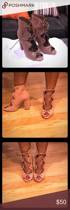 Strappy chunky heels Steve Madden size 8.5. Worn once. Nice camel suede color Steve Madden Shoes Heels