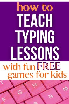 FREE typing games for kids! Learn to type games fun lessons. Kids won't even know they're learning! #free #lessons #teaching #homeschool #typinggames #howto Teacher Lesson Plans, Free Lesson Plans, Preschool Lesson Plans, Teaching Reading, Teaching Math, Typing Programs For Kids, Learn To Type, Free Typing, Free Homeschool Curriculum