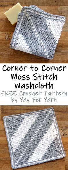 Crochet Stitches Patterns Corner to Corner Moss Stitch Washcloth – FREE Crochet Pattern – Yay for Yarn Crochet Simple, Free Crochet, Crochet Geek, Ravelry Crochet, Crochet Summer, Knit Crochet, Confection Au Crochet, Crochet Stitches Patterns, Crochet Washcloth Patterns