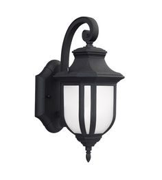 Sea Gull Lighting Childress LED Outdoor Wall Lantern in Black with Satin Etched Glass 8536391S-12 #lightingnewyork #lny #lighting