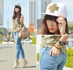 Wrangler Denim Spa Jeans, Choies Heels, Love Cap - Reporting For Duty - Camille Co