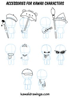 Manga Character Drawing How to draw accessories for kawaii characters Anime Drawings Sketches, Cartoon Sketches, Cartoon Art Styles, Easy Drawings, Kawaii Faces, Cute Kawaii Drawings, Kawaii Chibi, Chibi Cat, Anime Chibi