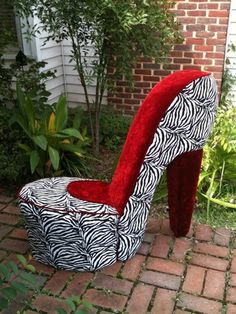 Wonderful Handmade Zebra And Red High Heel Shoe Chair *FREE SHIPPING* I Need This In