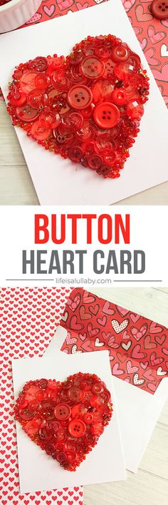 This HEART BUTTON CARD art is so cute! It's so easy to make and is perfect for a Valentine's Day card.