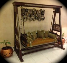 Stunning Indoor Swing Jhoola Wooden Carved And Painted By