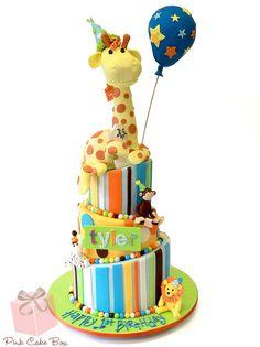 Tyler's Topsy Turvy Animal Themed Birthday Cake by Pink Cake Box