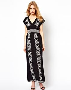 Traffic People Embroidered Maxi