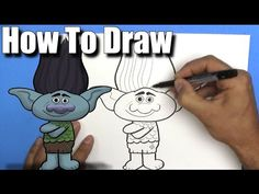 How To Draw Branch from The Trolls Movie - EASY- Step By Step - YouTube