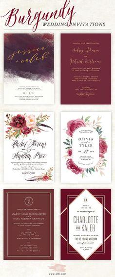 136 Best Burgundy Wedding Invitations Images In 2019