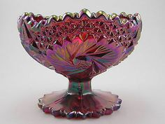 Ruby/Red Carnival Glass Fenton/stamped-tag*Stem-Footed Compote Candy Bowl