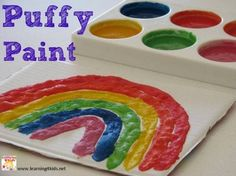 DIY Puffy Paint - How to make Puffy Paint? There is something magical about puffy paint and it is a must try for any child and toddler. Craft Activities For Kids, Preschool Crafts, Toddler Activities, Fun Crafts, Crafts For Kids, Arts And Crafts, Craft Ideas, Preschool Ideas, Fun Ideas