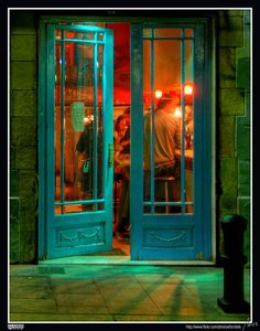 Love this shot - the light and warmth of this restaurant invites you in - colors are gorgeous - El Raval, Barcelona, Catalonia, ES.