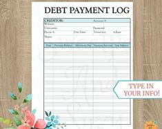 Debt Payment Log ~ Debt Tracker ~ Debt Snow Ball ~ See your progress each time you log a payment! Fillable on computer! Monthly Budget Printable, Debt Tracker, Debt Snowball, Thing 1, Teal And Grey, See You, Letter Size, Budgeting, Lettering