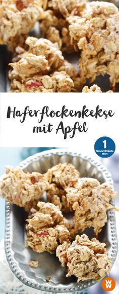 Oatmeal Cookies with Apple Recipe WW Germany - Oatmeal biscuits with apple 18 servings, 1 SmartPoint / serving, Weigt Watchers, finished in 35 min - Oatmeal Recipes, Apple Recipes, Baking Recipes, Cookie Recipes, Snack Recipes, Dessert Recipes, Dinner Recipes, Low Carb Desserts, Healthy Desserts