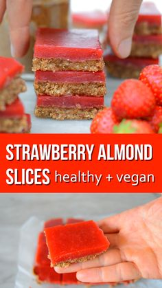Keto Snacks Discover Almond Butter and Strawberry Jelly Slice Almond Butter and Strawberry Jelly Slices - easy to make and healthy slices. Free of dairy gluten refined sugar and are paleo and vegan Healthy Sweets, Healthy Baking, Easy Healthy Recipes, Raw Food Recipes, Sweet Recipes, Raw Food Desserts, Lunch Recipes, Vegan Treats, Vegan Foods