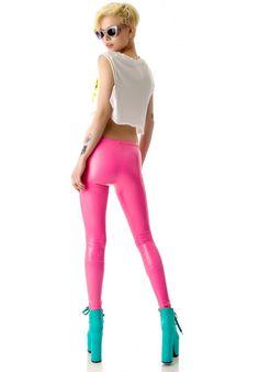 Tentacle Threads PVC Leggings in neon pink