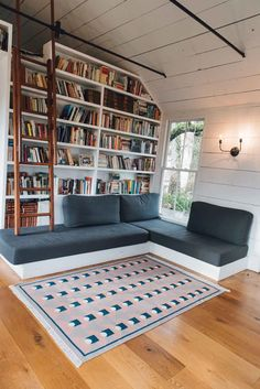 Bloom & Give Tushar Dhurrie Rug – Made Trade Home Library Rooms, Home Library Design, Home Office Design, House Rooms, Small Home Libraries, Cozy Home Library, Dream Library, Library Wall, Interior Office