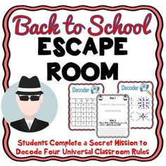 Students are sent on a secret mission to save the classroom rules. Four universal rules that can be used in ANY classroom. Students get a code name and decipher clues to the four rules. This is a great back to school activity!!