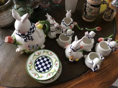 Bunny Rabbit Tea Pot Cup Spoon Saucer Sugar Creamer Set by EMTWTT