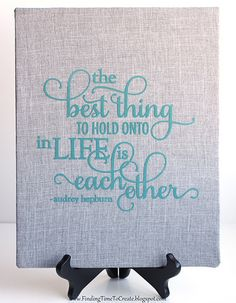 Bridal Shower or Wedding Gift: Fabric-wrapped canvas with flocked heat transfer vinyl quote. #silhouettedesignteam