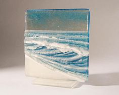 This glass panel illustrates the seaside using low relief and colours to… Glass Wall Art, Fused Glass Art, Stained Glass Art, Mosaic Glass, Glass Door, Glass Fusion Ideas, Glass Fusing Projects, Slumped Glass, Glass Panels