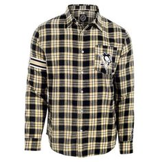Pittsburgh Penguins Wordmark Long Sleeve Flannel Shirt by Klew