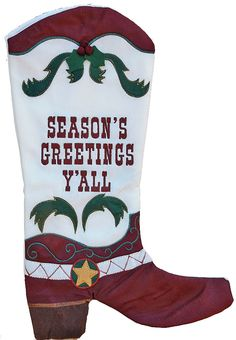 Cowboy Boot Christmas Stocking - Seasons Greetings Ya'll