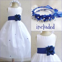 Lovely white/royal blue tulle rosebud flower girl dress FREE HEADPIECE all sizes #Dress