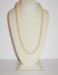 Joan Rivers Faux Pearl Necklace Blush Color 28 by SCLadyDiJewelry
