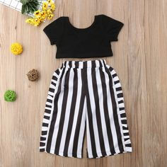 Baby Girls Summer Fashion Clothes Sets Short Sleeve Black T-Shirts Tops Striped Wide Leg Pants Kids Outfits Girls, Dresses Kids Girl, Girl Outfits, Baby Girl Fashion, Kids Fashion, Fashion Clothes, Girl Clothing, Babies Fashion, Fashion 2020