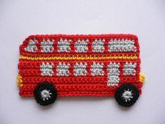Häkelapplikationen - engl. Doppeldeckerbus - Häkelapplikation - ein Designerstück von Spielkiste bei DaWanda