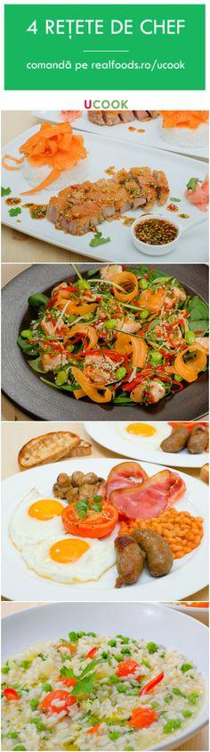 Rețetele săptămânii includ risotto cu roșii, mazăre și ardei gras, salată asiatică, cu file de somon, un mic dejun autentic englezesc și ceafă de porc Tonkatsu cu orez și sos de ghimbir. Comandă pachetul preferat pe http://realfoods.ro/ucook | Livrare 9-14 octombrie 2017