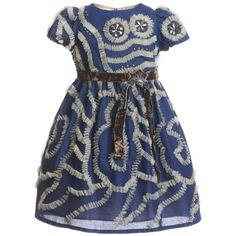 I Pinco Pallino Blue & Gold Tulle Dress at Childrensalon.com
